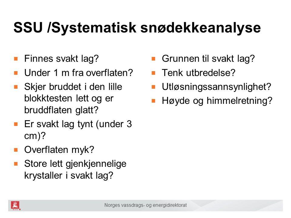 Norges vassdrags- og energidirektorat SSU /Systematisk snødekkeanalyse ■ Finnes svakt lag? ■ Under 1 m fra overflaten? ■ Skjer bruddet i den lille blo