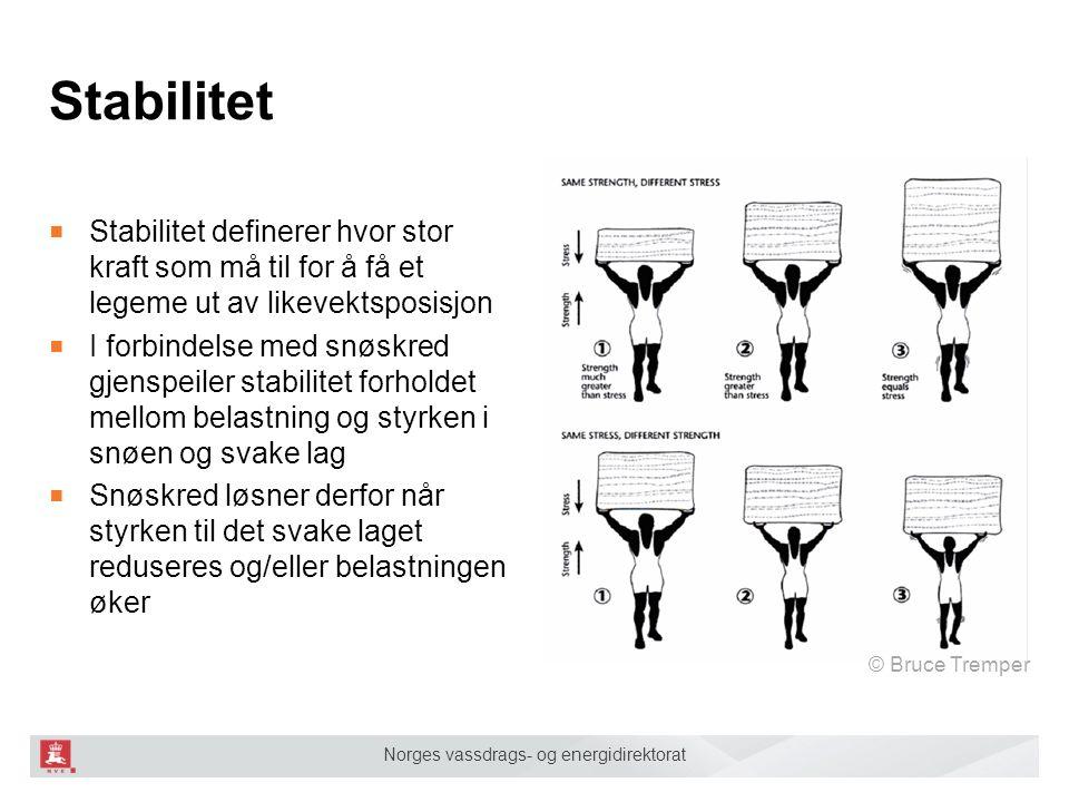 Norges vassdrags- og energidirektorat Stabilitet ■ Stabilitet definerer hvor stor kraft som må til for å få et legeme ut av likevektsposisjon ■ I forb
