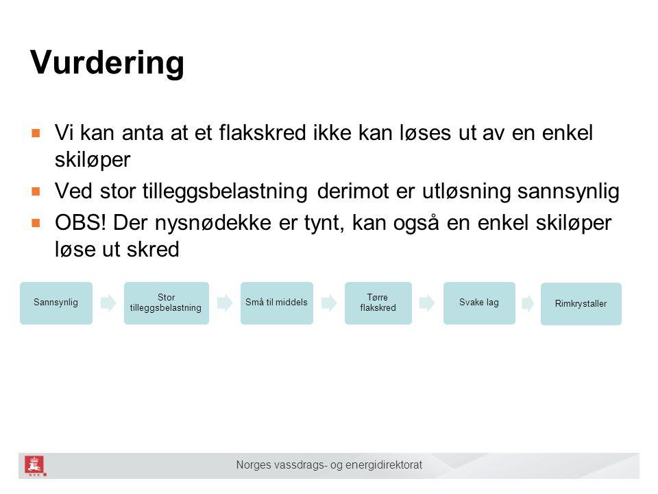 Norges vassdrags- og energidirektorat ■ Vi kan anta at et flakskred ikke kan løses ut av en enkel skiløper ■ Ved stor tilleggsbelastning derimot er ut