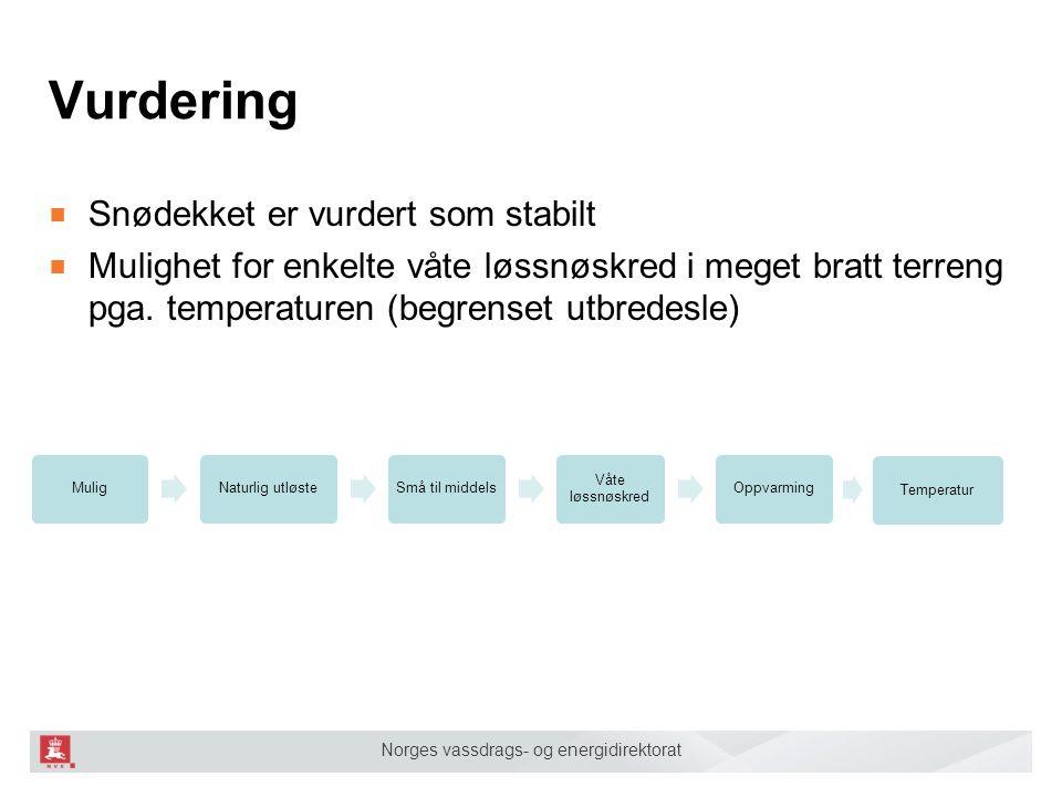 Norges vassdrags- og energidirektorat ■ Snødekket er vurdert som stabilt ■ Mulighet for enkelte våte løssnøskred i meget bratt terreng pga. temperatur