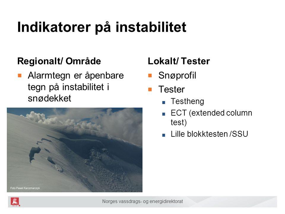 Norges vassdrags- og energidirektorat Indikatorer på instabilitet Regionalt/ Område ■ Alarmtegn er åpenbare tegn på instabilitet i snødekket Lokalt/ T