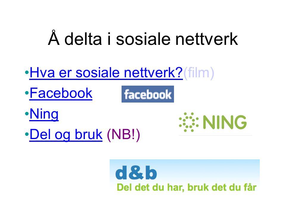 Å delta i sosiale nettverk Hva er sosiale nettverk (film) Hva er sosiale nettverk.