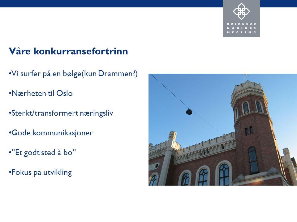 Våre konkurransefortrinn Vi surfer på en bølge(kun Drammen ) Nærheten til Oslo Sterkt/transformert næringsliv Gode kommunikasjoner Et godt sted å bo Fokus på utvikling