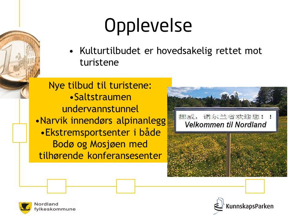 Kulturtilbudet er hovedsakelig rettet mot turistene Nye tilbud til turistene: Saltstraumen undervannstunnel Narvik innendørs alpinanlegg Ekstremsportsenter i både Bodø og Mosjøen med tilhørende konferansesenter