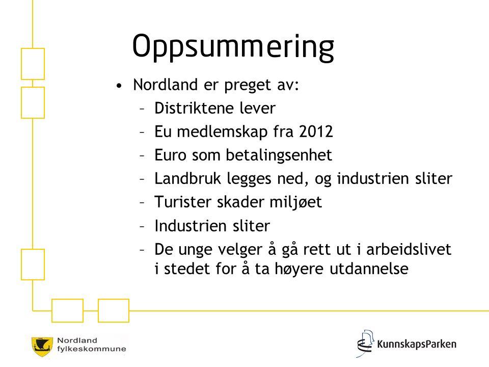 Nordland er preget av: –Distriktene lever –Eu medlemskap fra 2012 –Euro som betalingsenhet –Landbruk legges ned, og industrien sliter –Turister skader miljøet –Industrien sliter –De unge velger å gå rett ut i arbeidslivet i stedet for å ta høyere utdannelse