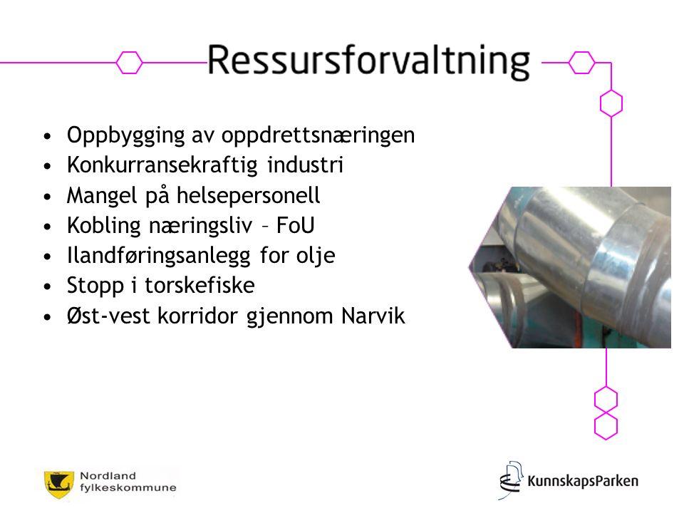 Oppbygging av oppdrettsnæringen Konkurransekraftig industri Mangel på helsepersonell Kobling næringsliv – FoU Ilandføringsanlegg for olje Stopp i torskefiske Øst-vest korridor gjennom Narvik