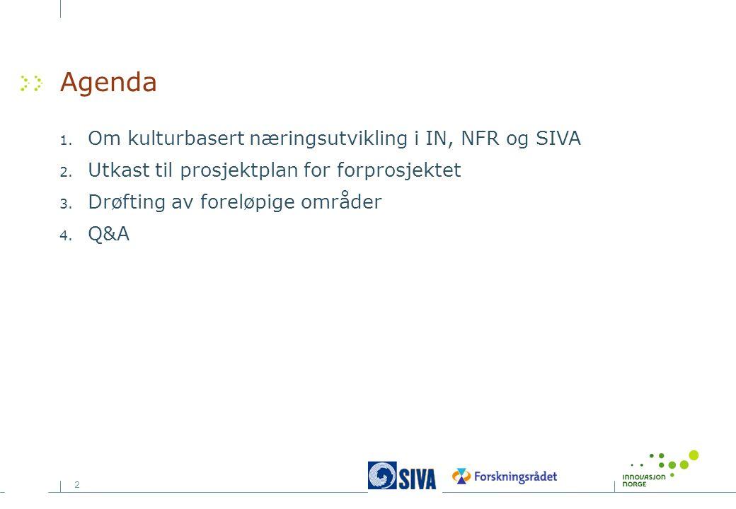2 Agenda 1. Om kulturbasert næringsutvikling i IN, NFR og SIVA 2. Utkast til prosjektplan for forprosjektet 3. Drøfting av foreløpige områder 4. Q&A