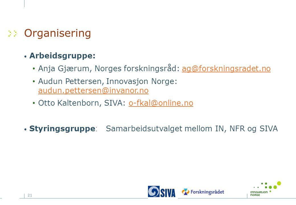 21 Organisering Arbeidsgruppe: Anja Gjærum, Norges forskningsråd: ag@forskningsradet.noag@forskningsradet.no Audun Pettersen, Innovasjon Norge: audun.pettersen@invanor.no audun.pettersen@invanor.no Otto Kaltenborn, SIVA: o-fkal@online.noo-fkal@online.no Styringsgruppe:Samarbeidsutvalget mellom IN, NFR og SIVA