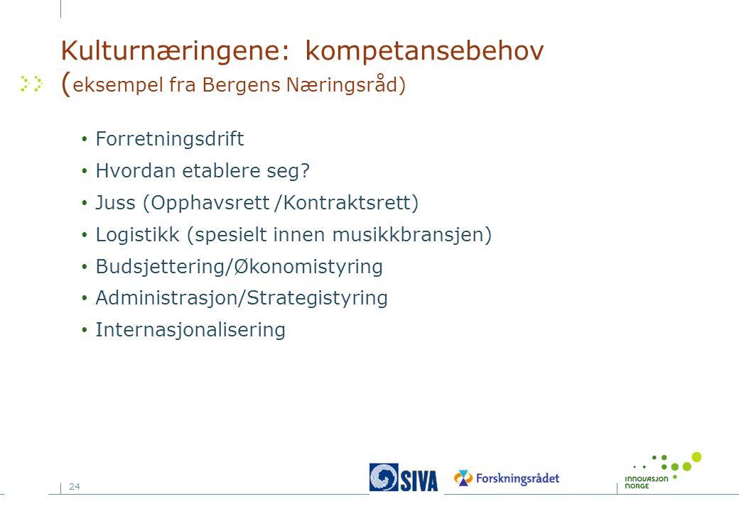 24 Kulturnæringene: kompetansebehov ( eksempel fra Bergens Næringsråd) Forretningsdrift Hvordan etablere seg? Juss (Opphavsrett /Kontraktsrett) Logist