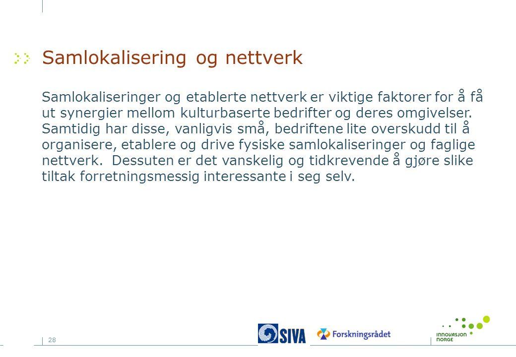 28 Samlokalisering og nettverk Samlokaliseringer og etablerte nettverk er viktige faktorer for å få ut synergier mellom kulturbaserte bedrifter og deres omgivelser.