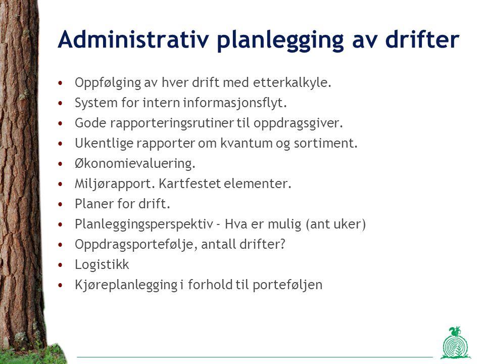 Administrativ planlegging av drifter Oppfølging av hver drift med etterkalkyle. System for intern informasjonsflyt. Gode rapporteringsrutiner til oppd