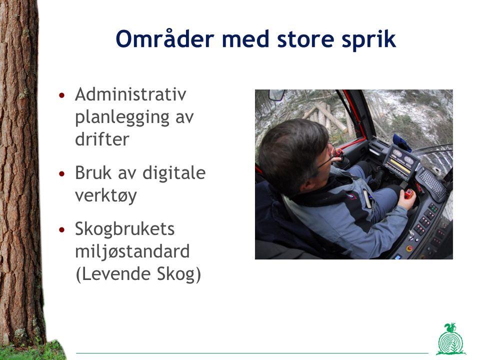 Områder med store sprik Administrativ planlegging av drifter Bruk av digitale verktøy Skogbrukets miljøstandard (Levende Skog)