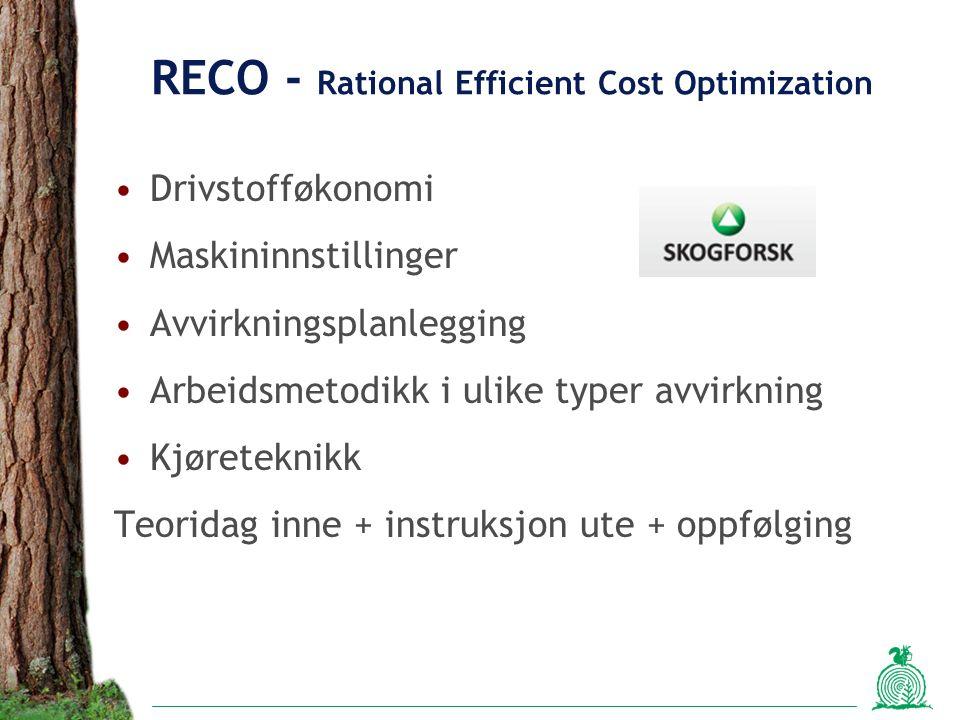 RECO - Rational Efficient Cost Optimization Drivstofføkonomi Maskininnstillinger Avvirkningsplanlegging Arbeidsmetodikk i ulike typer avvirkning Kjøreteknikk Teoridag inne + instruksjon ute + oppfølging
