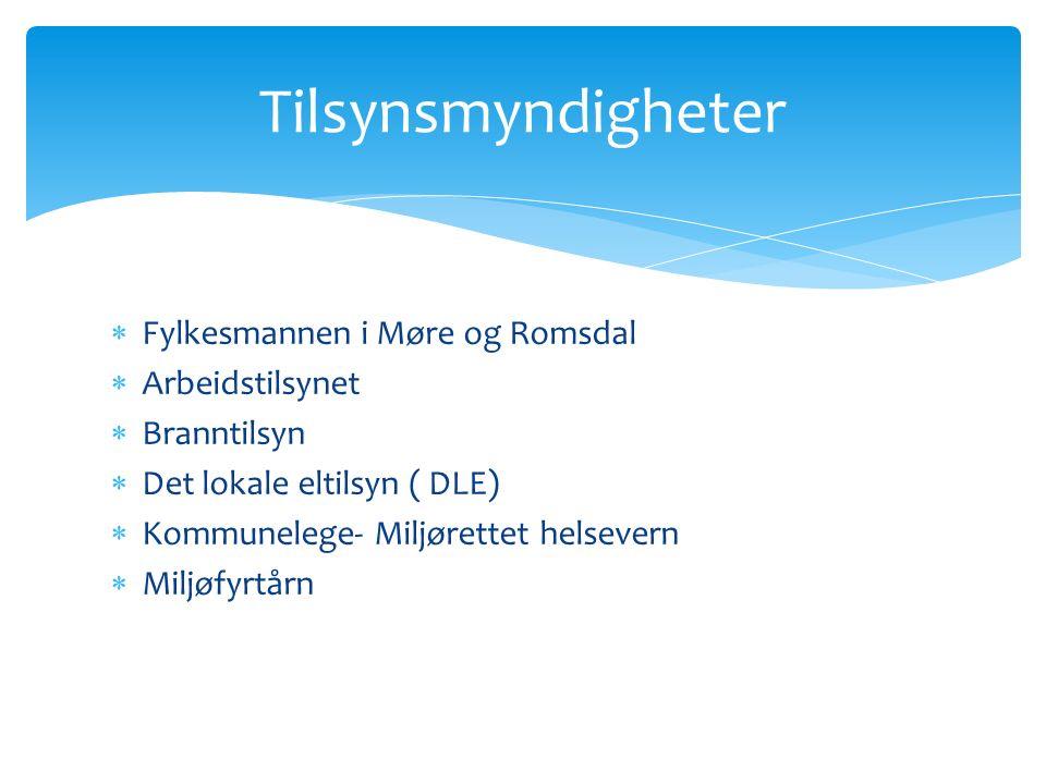  Fylkesmannen i Møre og Romsdal  Arbeidstilsynet  Branntilsyn  Det lokale eltilsyn ( DLE)  Kommunelege- Miljørettet helsevern  Miljøfyrtårn Tilsynsmyndigheter