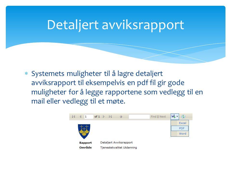  Systemets muligheter til å lagre detaljert avviksrapport til eksempelvis en pdf fil gir gode muligheter for å legge rapportene som vedlegg til en mail eller vedlegg til et møte.