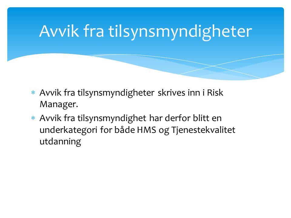 Avvik fra tilsynsmyndigheter skrives inn i Risk Manager.  Avvik fra tilsynsmyndighet har derfor blitt en underkategori for både HMS og Tjenestekval