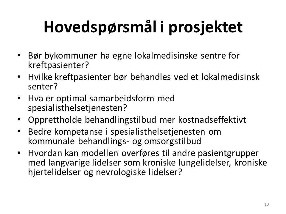 Hovedspørsmål i prosjektet Bør bykommuner ha egne lokalmedisinske sentre for kreftpasienter.