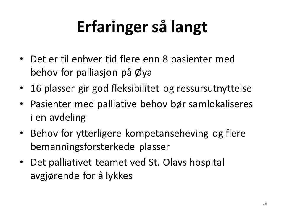 Erfaringer så langt Det er til enhver tid flere enn 8 pasienter med behov for palliasjon på Øya 16 plasser gir god fleksibilitet og ressursutnyttelse Pasienter med palliative behov bør samlokaliseres i en avdeling Behov for ytterligere kompetanseheving og flere bemanningsforsterkede plasser Det palliativet teamet ved St.