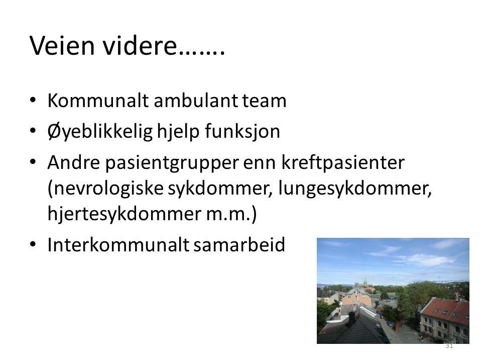 Veien videre……. Kommunalt ambulant team Øyeblikkelig hjelp funksjon Andre pasientgrupper enn kreftpasienter (nevrologiske sykdommer, lungesykdommer, h