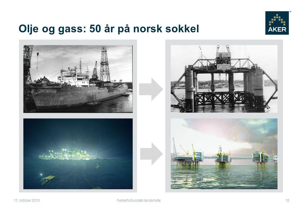 Fellesforbundets landsmøte 10 11. oktober 2015 Olje og gass: 50 år på norsk sokkel