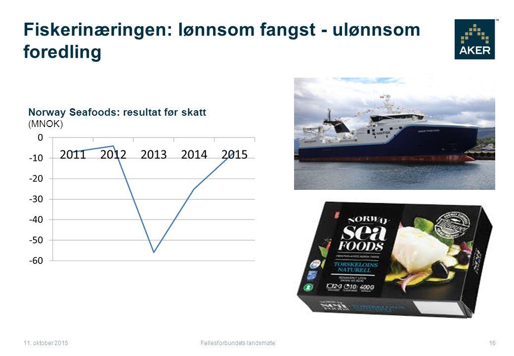 Fiskerinæringen: lønnsom fangst - ulønnsom foredling Fellesforbundets landsmøte 16 11.