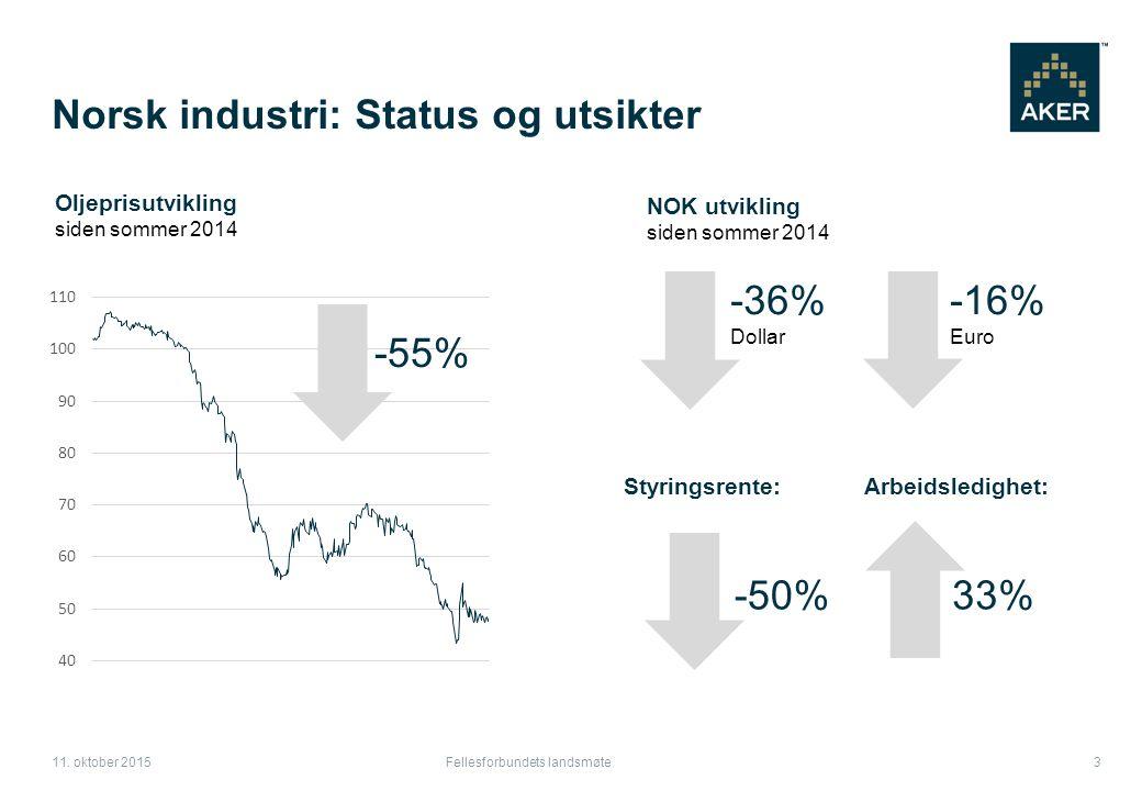 Norsk industri: Status og utsikter Fellesforbundets landsmøte 3 11.