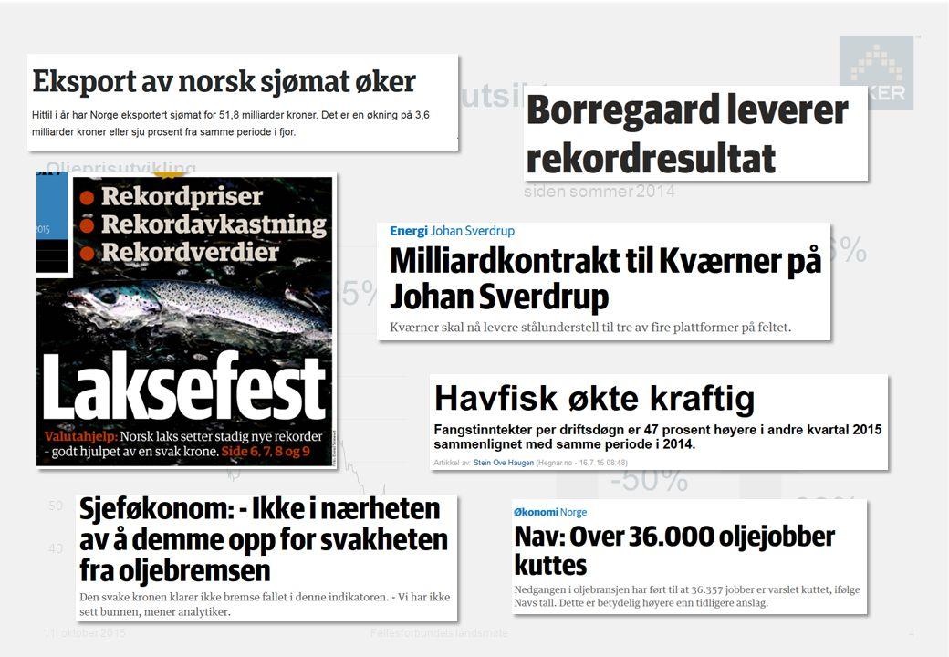 Norsk industri: Status og utsikter Fellesforbundets landsmøte 4 11.