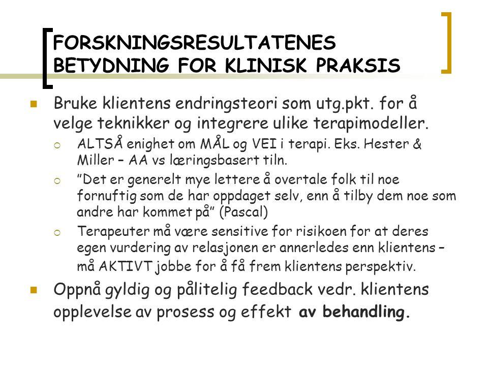 FORSKNINGSRESULTATENES BETYDNING FOR KLINISK PRAKSIS Bruke klientens endringsteori som utg.pkt.