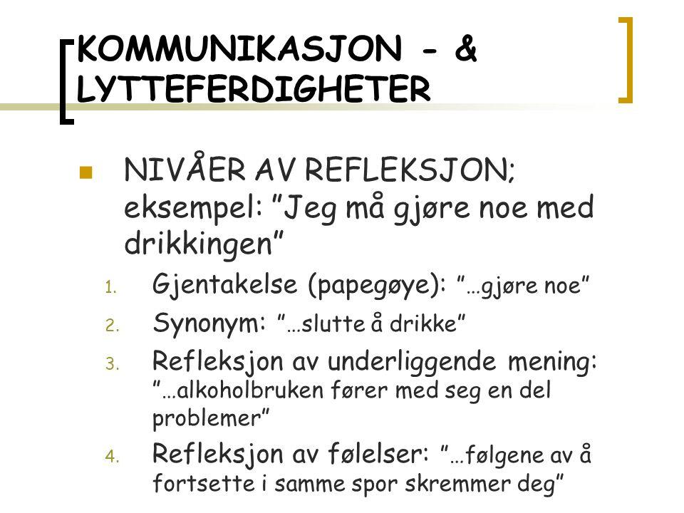 KOMMUNIKASJON - & LYTTEFERDIGHETER NIVÅER AV REFLEKSJON; eksempel: Jeg må gjøre noe med drikkingen 1.
