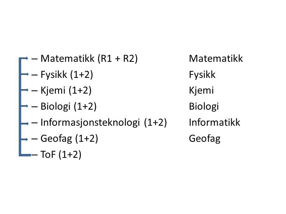 – Matematikk (R1 + R2) Matematikk – Fysikk (1+2) Fysikk – Kjemi (1+2) Kjemi – Biologi (1+2) Biologi – Informasjonsteknologi (1+2) Informatikk – Geofag (1+2) Geofag – ToF (1+2)