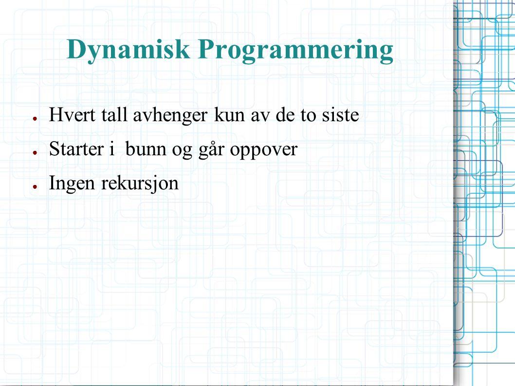 Dynamisk Programmering ● Hvert tall avhenger kun av de to siste ● Starter i bunn og går oppover ● Ingen rekursjon