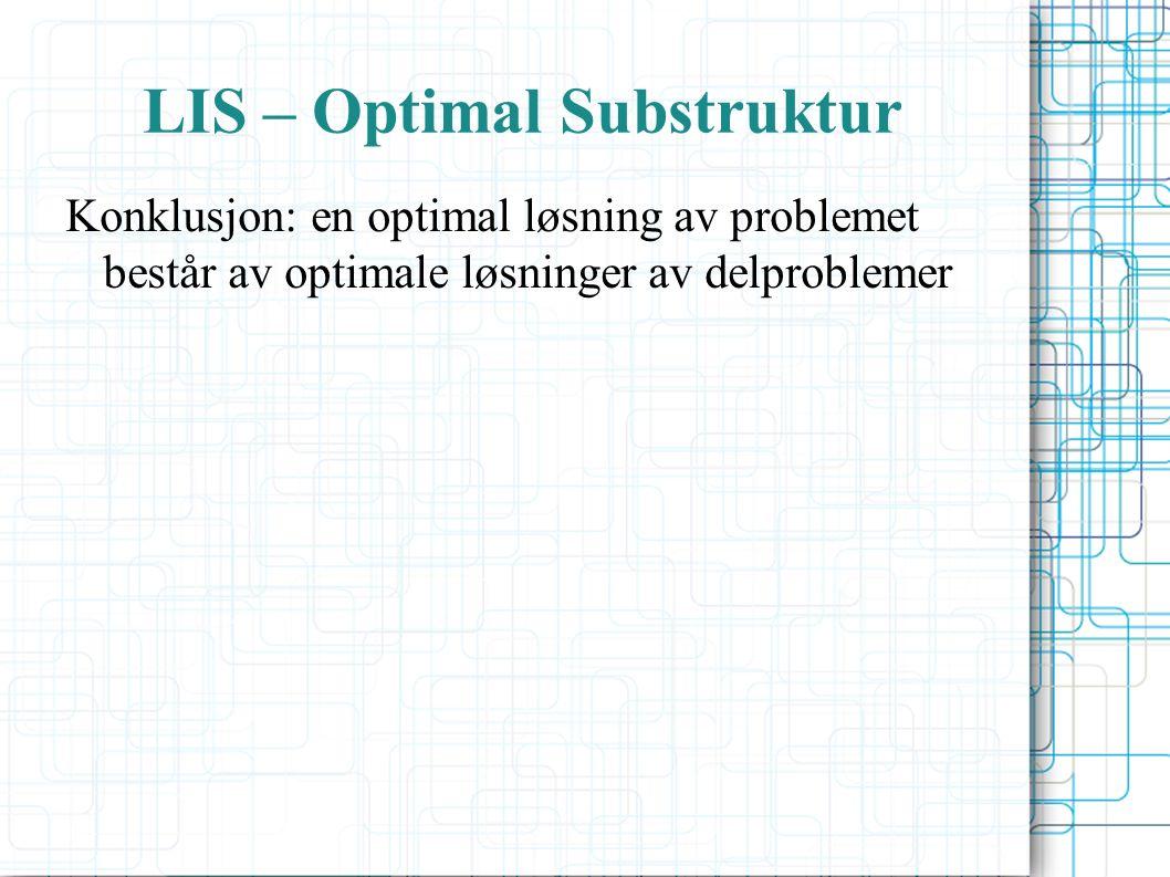 LIS – Optimal Substruktur Konklusjon: en optimal løsning av problemet består av optimale løsninger av delproblemer