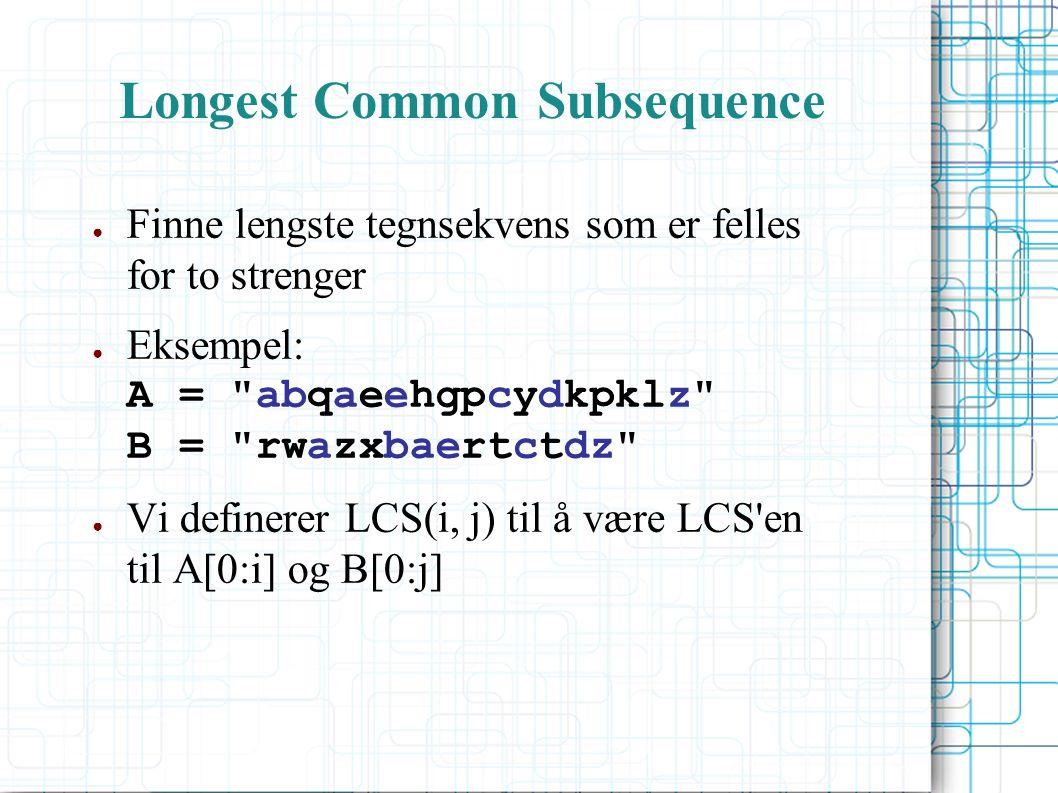 Longest Common Subsequence ● Finne lengste tegnsekvens som er felles for to strenger ● Eksempel: A = abqaeehgpcydkpklz B = rwazxbaertctdz ● Vi definerer LCS(i, j) til å være LCS en til A[0:i] og B[0:j]