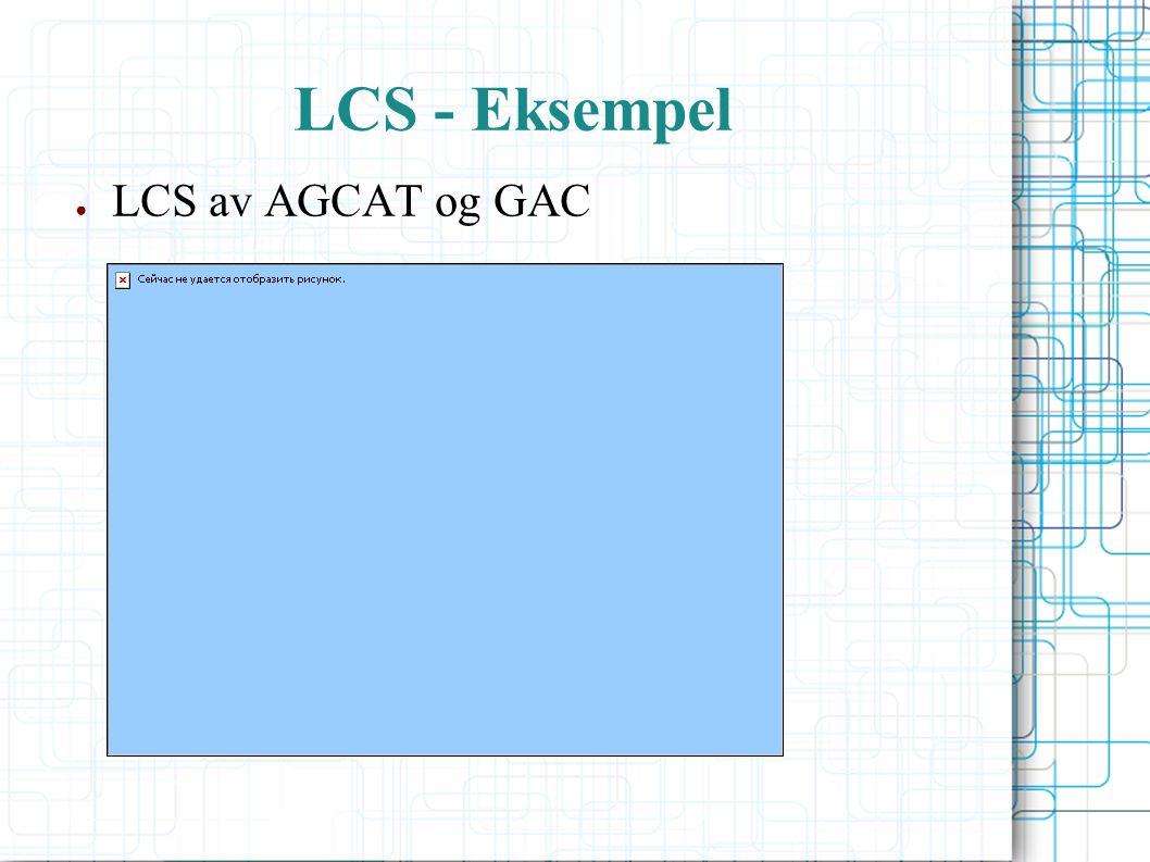 LCS - Eksempel ● LCS av AGCAT og GAC