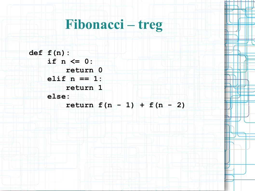 Fibonacci – treg def f(n): if n <= 0: return 0 elif n == 1: return 1 else: return f(n - 1) + f(n - 2)