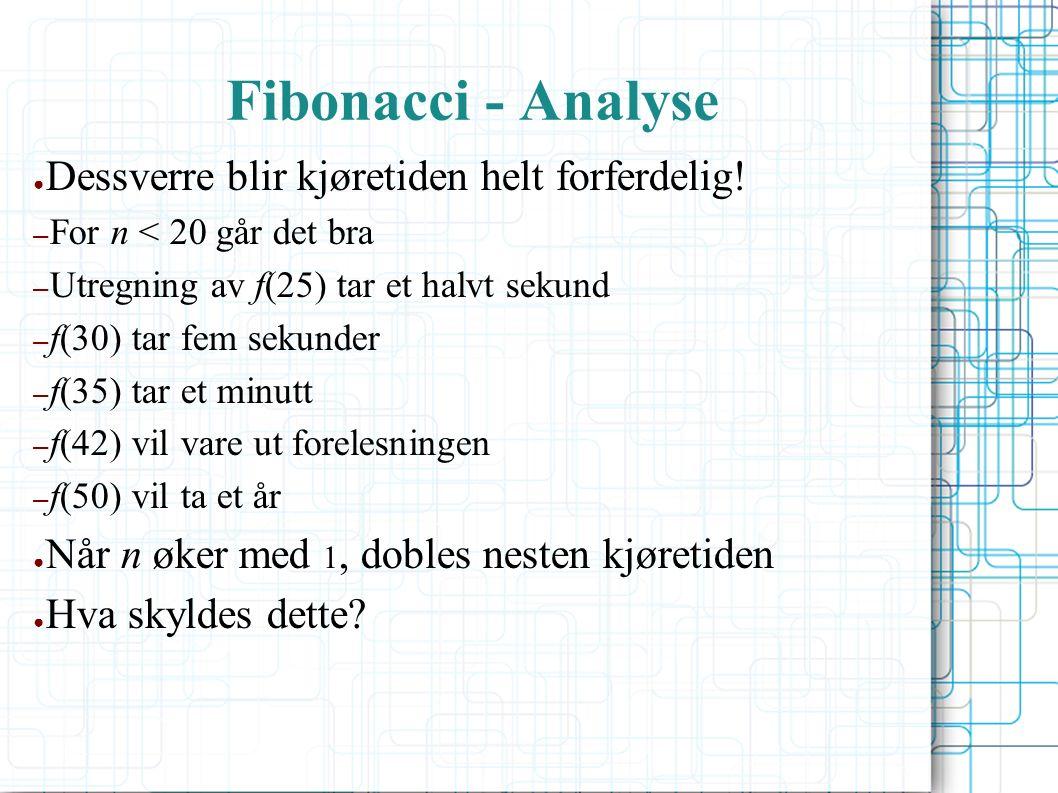 Fibonacci - Analyse ● Dessverre blir kjøretiden helt forferdelig.