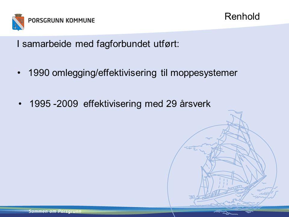 Renhold I samarbeide med fagforbundet utført: 1990 omlegging/effektivisering til moppesystemer 1995 -2009 effektivisering med 29 årsverk