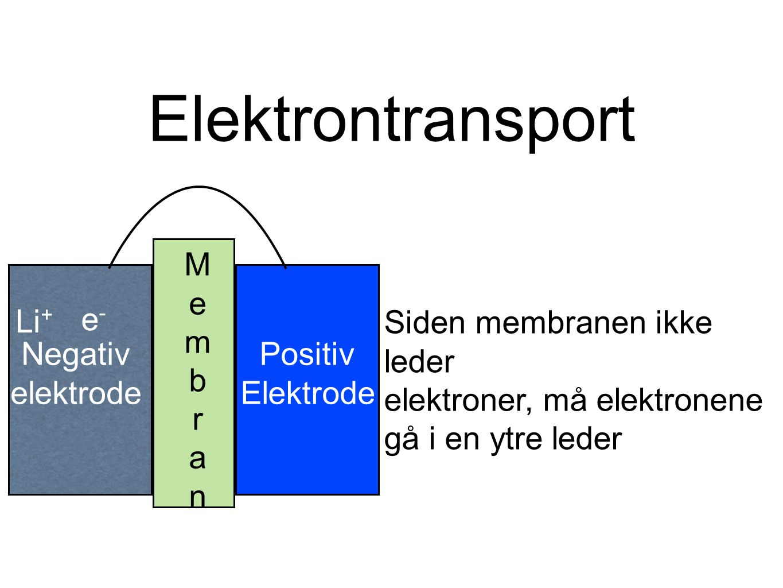 Elektrontransport MembranMembran Positiv Elektrode Siden membranen ikke leder elektroner, må elektronene gå i en ytre leder Li + e-e- Negativ elektrode