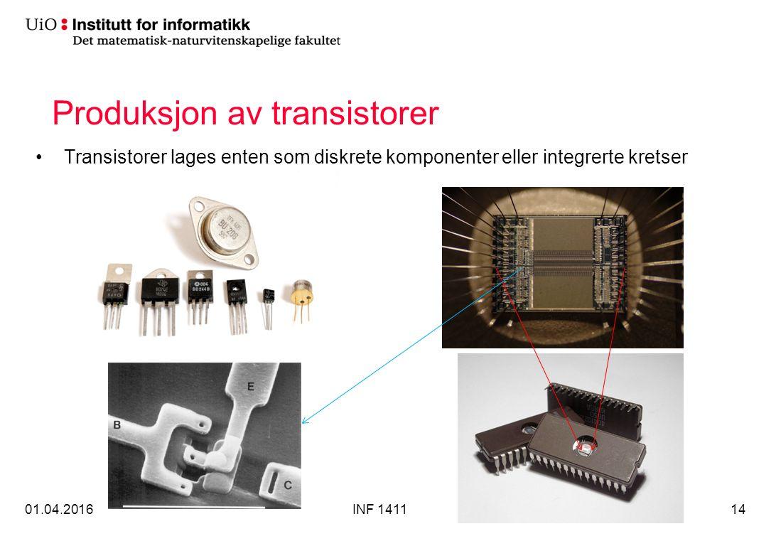 Produksjon av transistorer Transistorer lages enten som diskrete komponenter eller integrerte kretser 01.04.2016INF 141114