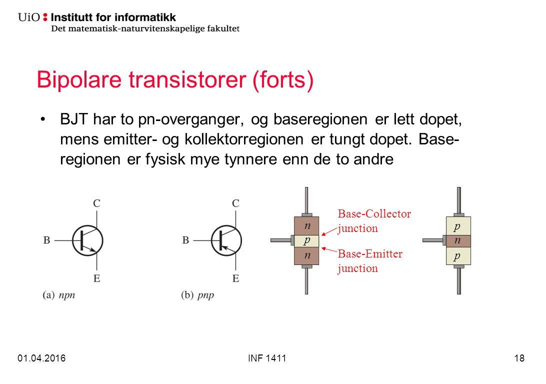 Bipolare transistorer (forts) BJT har to pn-overganger, og baseregionen er lett dopet, mens emitter- og kollektorregionen er tungt dopet.