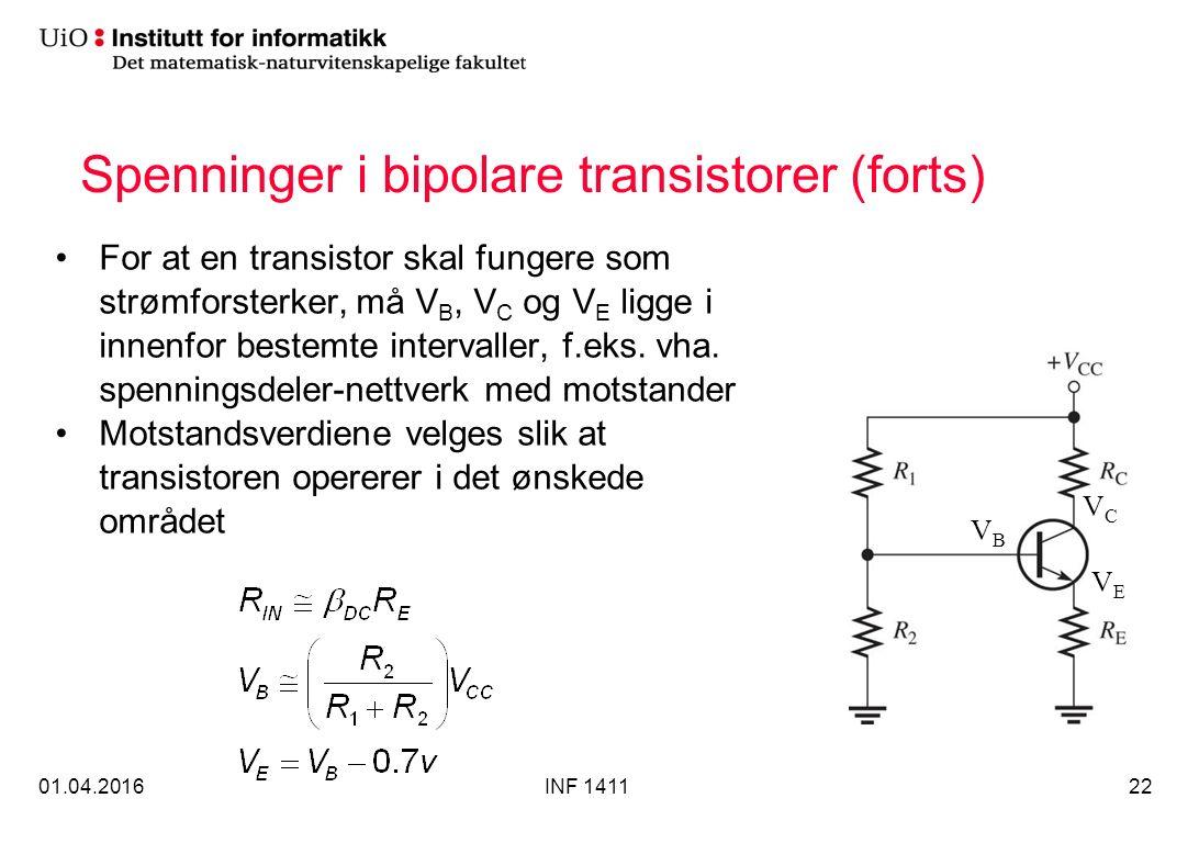 Spenninger i bipolare transistorer (forts) For at en transistor skal fungere som strømforsterker, må V B, V C og V E ligge i innenfor bestemte intervaller, f.eks.