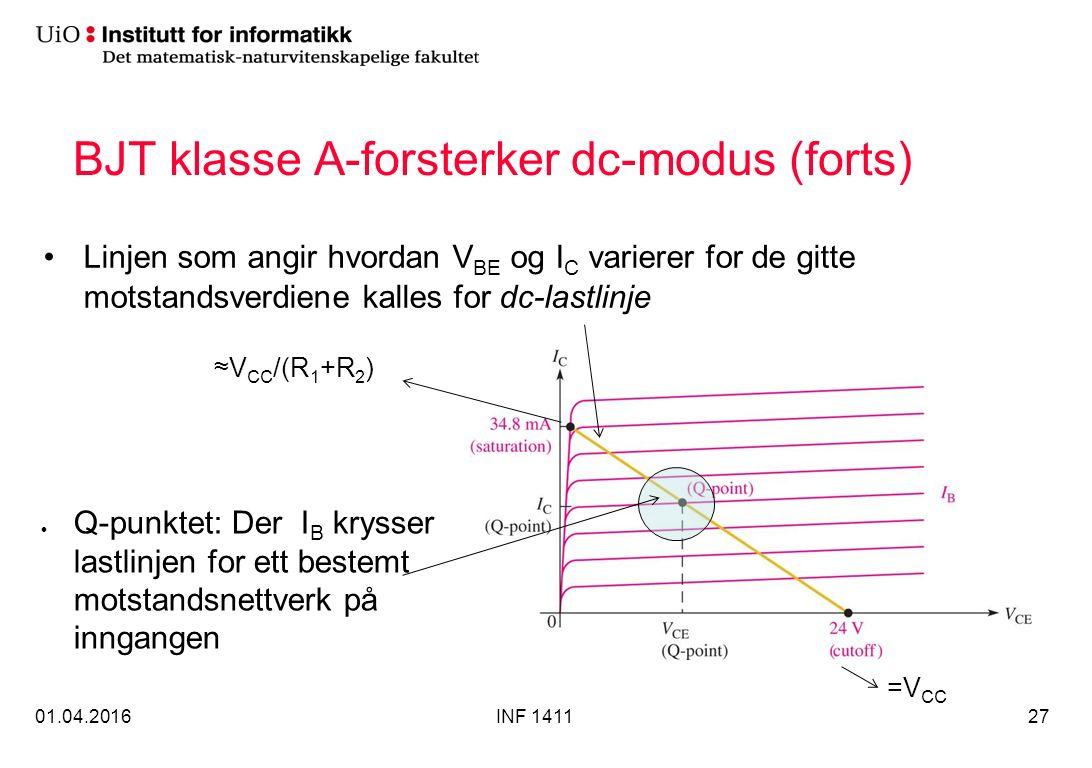 BJT klasse A-forsterker dc-modus (forts) Linjen som angir hvordan V BE og I C varierer for de gitte motstandsverdiene kalles for dc-lastlinje 01.04.2016INF 141127 Q-punktet: Der I B krysser lastlinjen for ett bestemt motstandsnettverk på inngangen =V CC ≈V CC /(R 1 +R 2 )