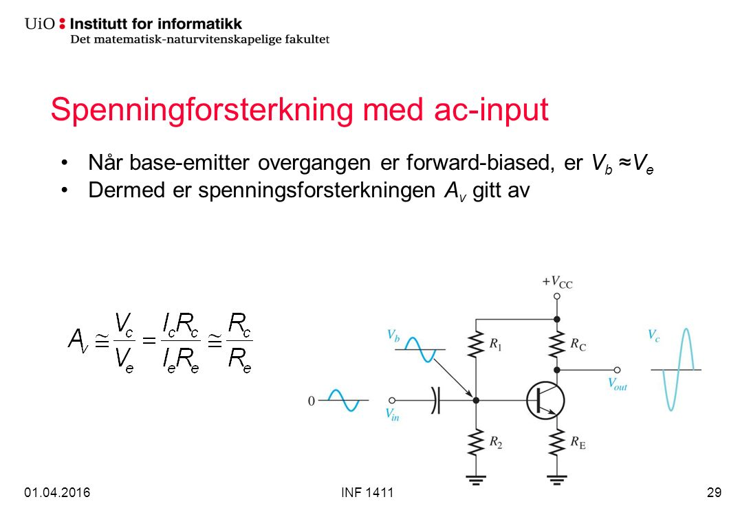 Spenningforsterkning med ac-input Når base-emitter overgangen er forward-biased, er V b ≈V e Dermed er spenningsforsterkningen A v gitt av 01.04.2016INF 141129
