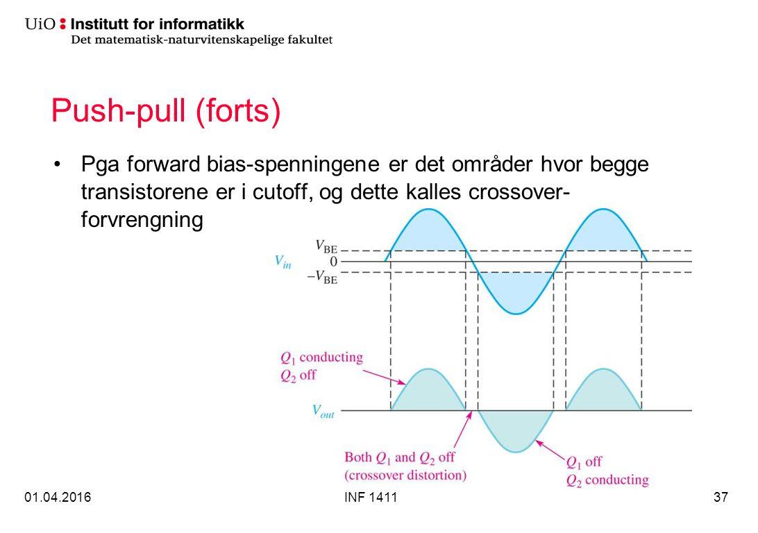 Push-pull (forts) Pga forward bias-spenningene er det områder hvor begge transistorene er i cutoff, og dette kalles crossover- forvrengning 01.04.2016INF 141137