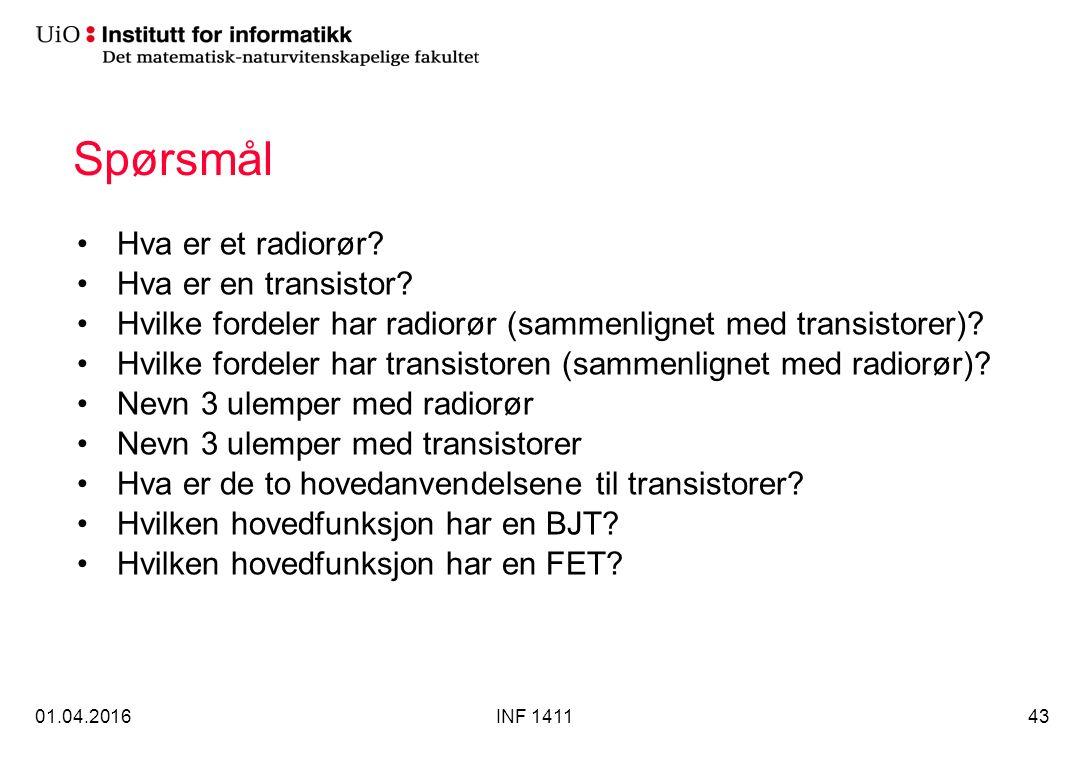 Spørsmål Hva er et radiorør. Hva er en transistor.