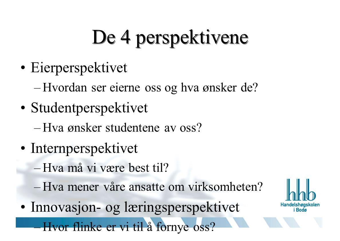 Sammenhengen mellom perspektivene Eierperspektivet Brukerperspektivet Innovasjon- og læringsperspektiv et Internperspektivet