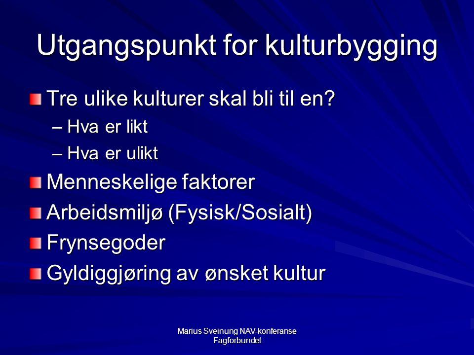 Marius Sveinung NAV-konferanse Fagforbundet Utgangspunkt for kulturbygging Tre ulike kulturer skal bli til en.