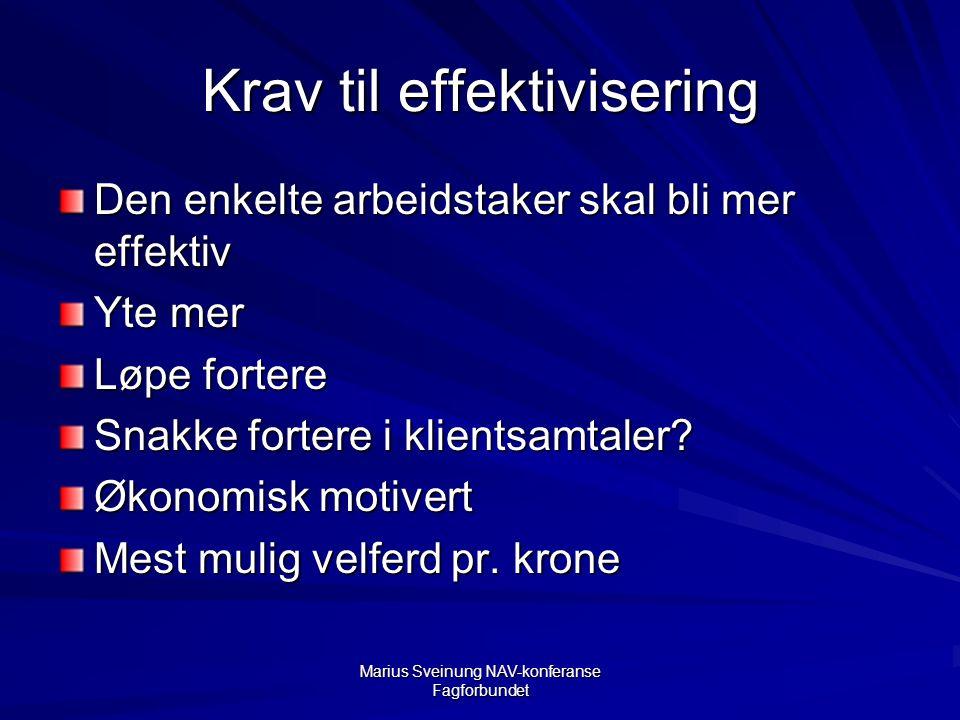 Marius Sveinung NAV-konferanse Fagforbundet Krav til effektivisering Den enkelte arbeidstaker skal bli mer effektiv Yte mer Løpe fortere Snakke fortere i klientsamtaler.