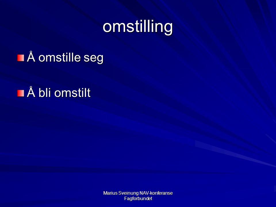 Marius Sveinung NAV-konferanse Fagforbundet omstilling Å omstille seg Å bli omstilt