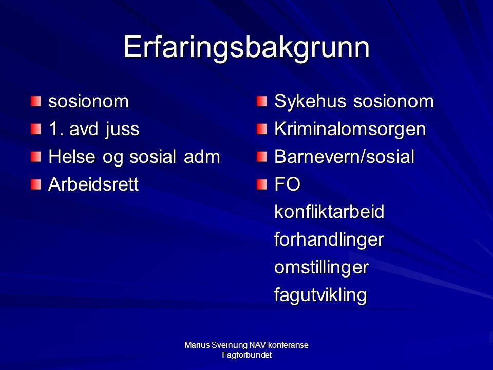 Marius Sveinung NAV-konferanse Fagforbundet Erfaringsbakgrunn sosionom 1.
